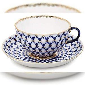 Lomonosov Cobalt Net Russian Tea Cup & Saucer